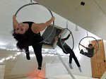 Mother and child aerial hoop class at The White Studio
