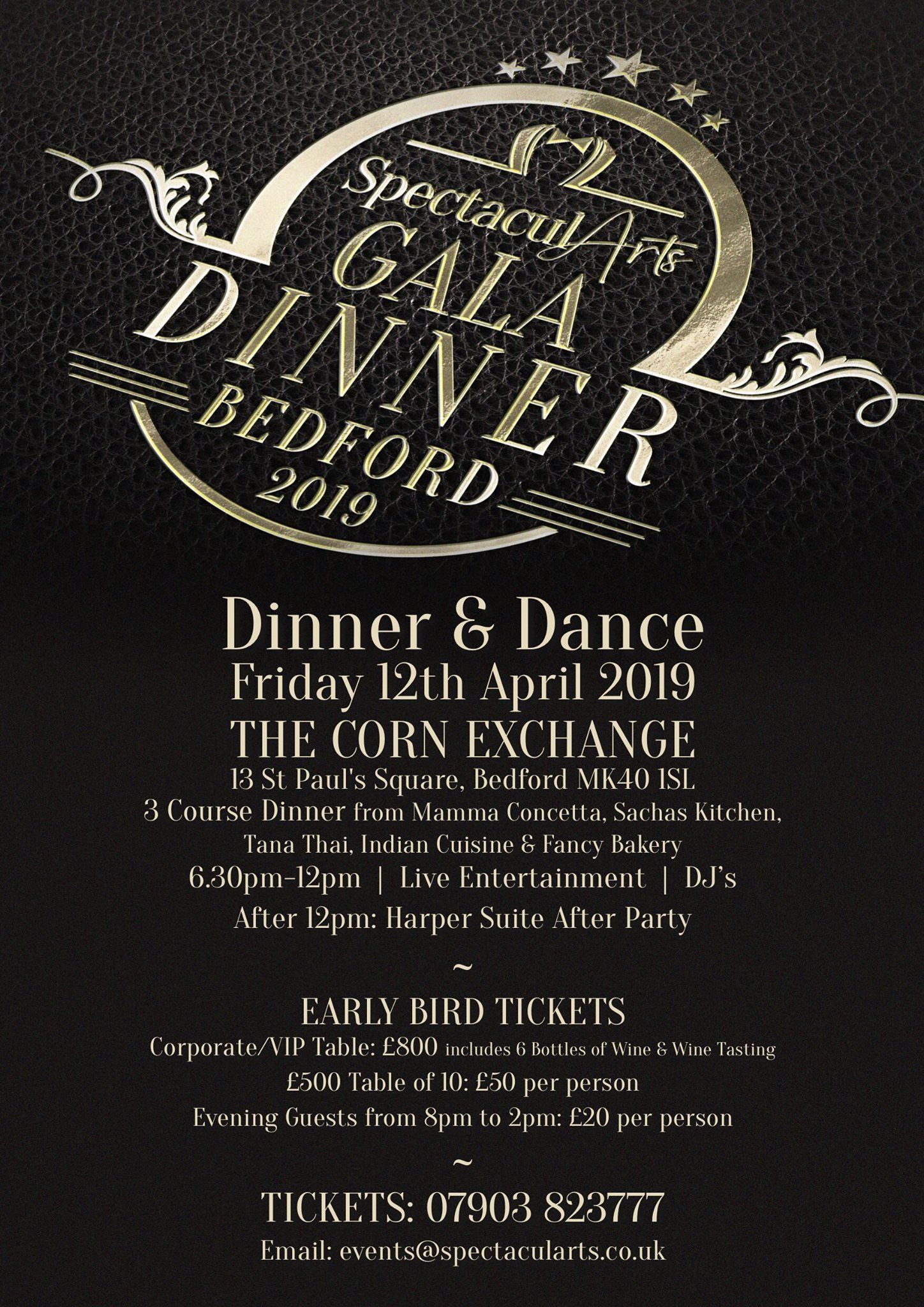 Spectacularts Gala Dinner at Bedford Corn Exchange