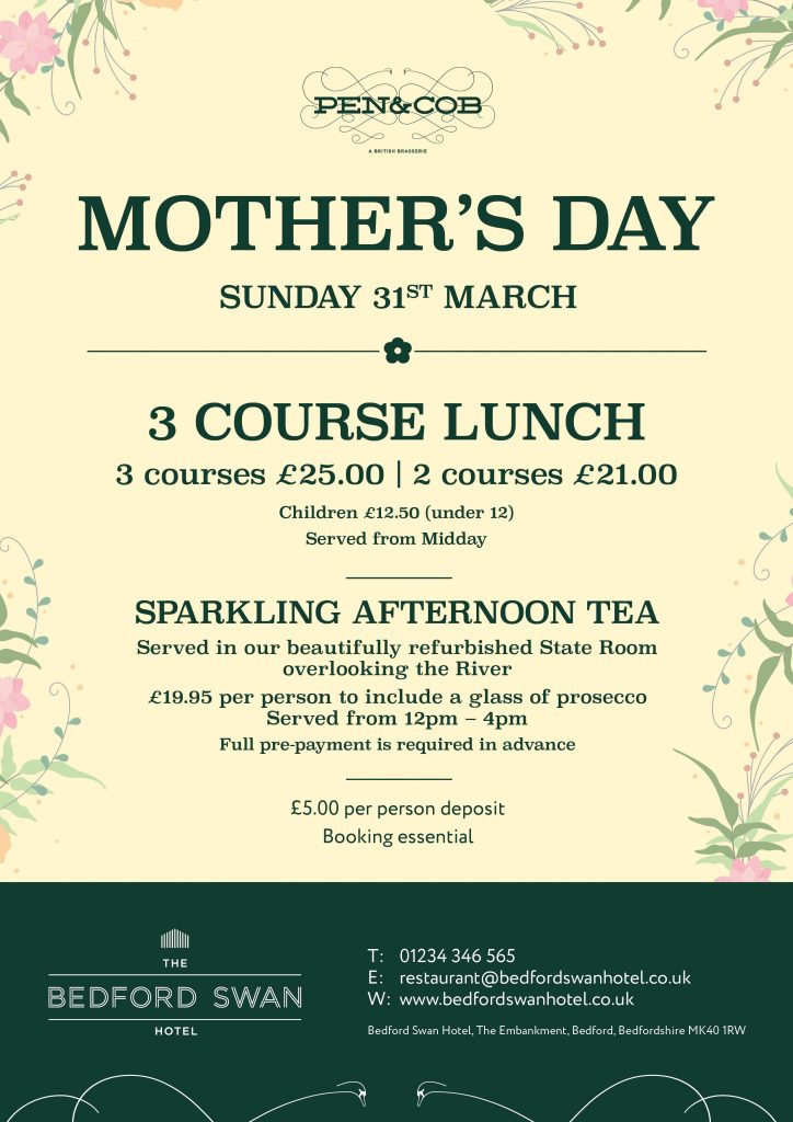 Mother's Day 2019 at The Bedford Swan Hotel